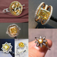 Fashion 925 Silver Jewelry Citrine Rings Women Wedding Engagement Ring Size 6-10