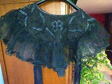CAPE D'EPAULE an.DENTELLE BRODée JAIS PAILLETTES ANTIQUE EMBROIDERED JET  CAPE