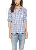Madewell Small gingham check button down shirt womens blue white long sleeve