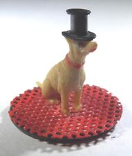 "VINTAGE 1930's MINIATURE 1"" TALL TERRIER DOG WEARING A TOP HAT - FIGURINE"