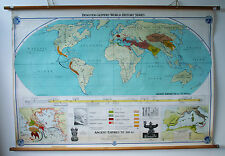Enormous Vintage Wall Chart Map History Ancient Empires to 200BC 1950's 1960's