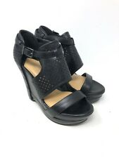 Gianni Bini Womens Perforated Leather Platform Wedge Sandals Black Size 7