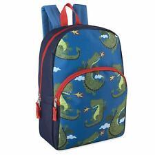 """Boys 15"""" Backpack Bookbag Adjustable Straps Blue & Orange Dragon Print"""