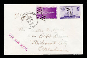 SCOTT #852 AND #923 ON AIRMAIL COVER SALISBURY MD 1952