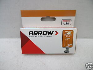 1000 X 14MM ARROW T25 T-25 ROUND CROWN WIRE AND CABLE STAPLES