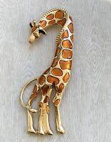 Vintage Style large Giraffe  Brooch & Pendant enamel on gold  Tone Metal