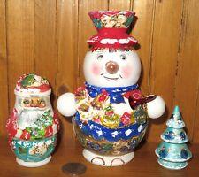 RUSSI contenitori bambole pupazzo di neve BABBO ALBERO NATALE OPACO Babushka 3
