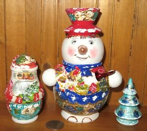 Russian NESTING dolls Matryoshka SNOWMAN SANTA Christmas Tree MATT 3 MAMAYEVA