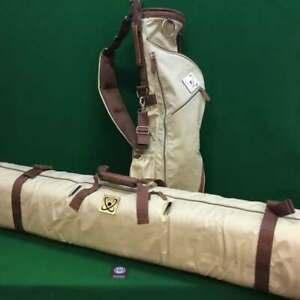Retro Style Golf Pencil Carry Bag and Travel Cover Bag - 2 Piece Set - Beige