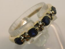 Sapphire Deco Style Dress Ring size M 9ct Solid Yellow Gold & 4x Blue Australian