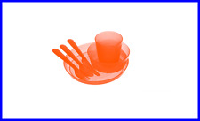 NEW 1set ORANGE Unbreakable Reusable Dinnerware Utensils Kids Adults- BPA Free