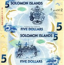 SOLOMON ISLANDS 5 Dollars Banknote World Polymer Money Currency Pick New 2019