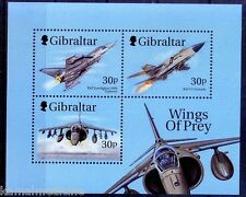 Fighter Planes, Air Force, Aviation, Wings of Prey, Gibraltar 1999 MNH SS - A04