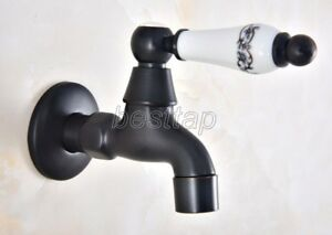 Black Oil Rubbed Brass Mop Pool Faucet Laundry Sink Cold Water Tap sav343