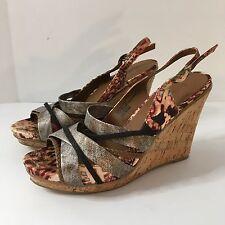 ZIGI Girl Women's Brown Satin Animal Print Platform Wedge Heels Shoes Sz 7.5