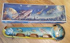 Vintage Rocket to the Moon Mandbah Terr Luna Marke Technofix Tin Toy & Box 1951