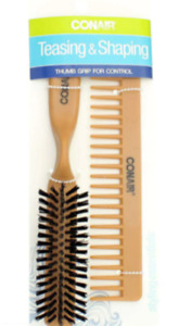 Conair Teasing & Shaping Comb/Brush Set with Thumb Grip for Control QTY 3