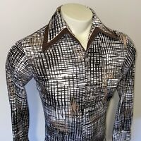 Vtg 60s 70s JOEL California Polyester Shirt DISCO Mid Century Tuxedo Mens MEDIUM