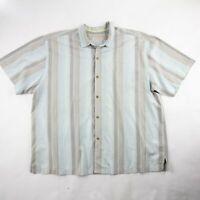 Tommy Bahama Mens Button Up Shirt Gray Tan Striped Short Sleeve Silk Cotton 2XL