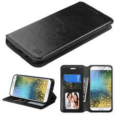 NEW For SAMSUNG Galaxy E5 / S978L BLACK WALLET LEATHER ACCESORY SKIN COVER CASE
