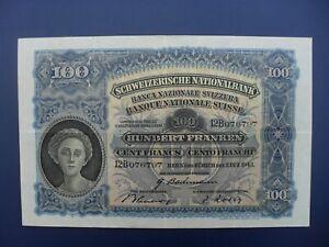EARLY DATE 1943 SWITZERLAND 100 FRANKEN BANKNOTE ORIGINAL GVF