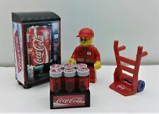 Lego City Custom Coca Cola Set. Vending Machine. Minifigure. Hand Truck & MORE.