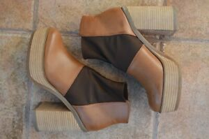 ASOS 70S RETRO VINTAGE STYLE PLATFORM CHUNKY ANKLE BOOTS HIPPIE BROWN UK5 38 7