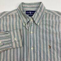 Ralph Lauren Yarmouth Dress Shirt Men's 15.5-33 Long Sleeve Multi Striped Cotton