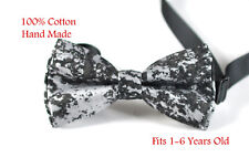 Baby Boy Kids Cotton Metallic Texture Crackle Black Bow tie Bowtie 1-6 Years old