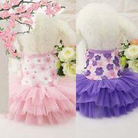 Pet Puppy Dog Tutu Dress Lace Skirt Cat Princess Dress Clothes Summer Apparel