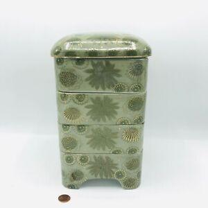 Japanese Ceramic Porcelain 5 Layer Bento Jubako Stacking Lunch Box Green