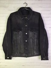Topshop Boutique Womens Size 0 Oversized Distressed Denim Jean Jacket Black Wash