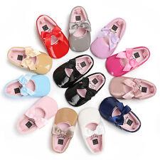 Toddler Baby Girl Bowknot Princess Crib Shoes Soft Leather Christening Prewalker