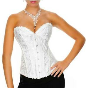 Sexy White Satin Brocade Bridal Corset with Back Lacing Size 10 12 14 20 24