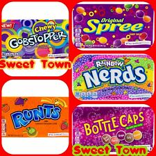 Wonka Variety USA Candy Nerds Gobstoppers Bottle Caps,Spree, Runts 5 x141grams
