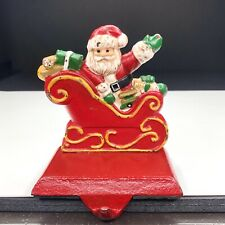 Vintage Cast Iron Santa Claus Mantle Hook Stocking Holder Christmas Sleigh
