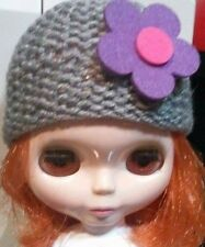 Blythe cute Grey knitted hat ,  Outfit , doll not enclosed