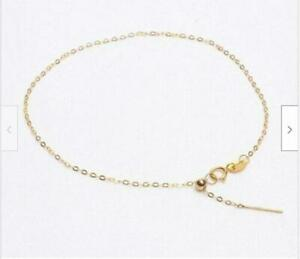 """18"""" Real 18K SOLID GOLD NECKLACE O-shaped Clavicular chain adjustable chain"""