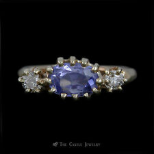 Beautiful Antique Oval Sapphire Ring w/ Old European Cut Diamond Sides in Yellow
