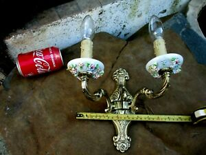 Vintage Brass & Porcelain Floral Ornate Beautiful Electric Wall Sconce Two Arm