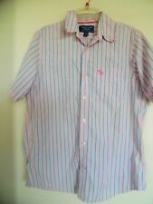 Men's Abercrombie and Fitch Pink  Blue Striped Button Down Shirt  Sz  L