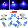 13X Blue LED Bulbs Car Interior T10 31mm Map Dome License Plate Light Lamp 3Size