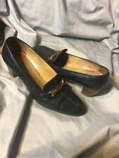 Vintage Gucci Vintage 70s Women's Loafers Heels Blue Horsebit 37.5 AA EU