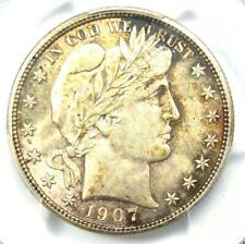 1907-D Barber Half Dollar 50C - PCGS Uncirculated Detail (MS UNC) - Nice Luster!