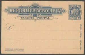 AOP Bolivia 1894 1c blue / buff postal card unused HG #6