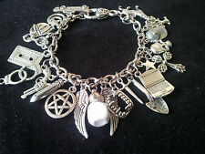 SUPERNATURAL Inspired Charm Bracelet with glow in the dark Salt Vial - S Plate