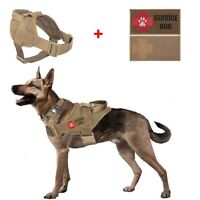 Tactical K9 Trainning Service Dog Harness Dog Vest with Handle Control 2 Patches