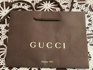 """NEW GUCCI FIRENZE 1921 Authentic Gift Paper Shopping Bag Small Brown 9 x 7"""" X 4"""""""