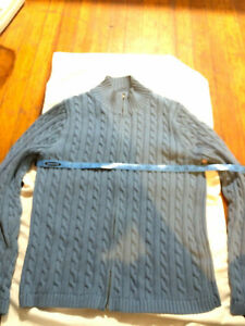 l.l. bean cotton cable knit zippered sweater beautiful blue