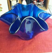 Cobalt Blue glass Vase /Folded Glass Made in Italy hankerchief